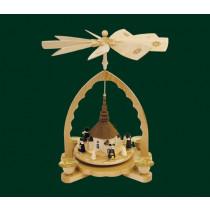 """Декоративна пирамида """"Църква в Зайфен с хористи"""", с поставки за свещи, 27см"""