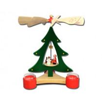 """Декоративна пирамида елха """"Дядо Коледа с подаръци"""", с поставки за свещи, 28 см"""