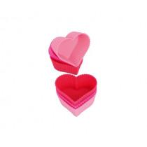 Силиконови форми за мъфини Kaiser Heart, комплект 6 бр.