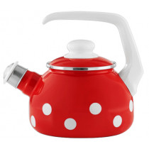 Емайлиран чайник Münder Email Red & White, със свирка, 1.7 л